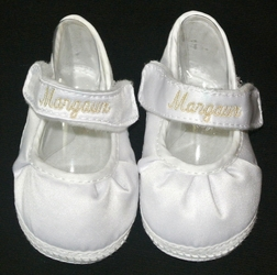 Monogrammed Baby Shoes for Girls in Satin Sheen Fabric by Baby Deer