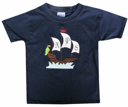 Monogrammed Boy's Ship/Pirate Ship and Parrot Shorts Outfit