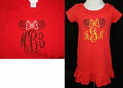 Monogrammed Minnie Mouse Swirls Ears and Bow Red Ruffle Dress