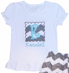 Monogrammed Girl's Shorts or Capris Outfit in Gray Chevron and Turquoise Blue Dots