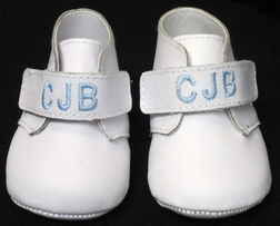 Monogrammed Baby Shoes for Boys in Leather by Baby Deer