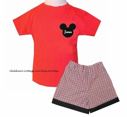Monogrammed Boy's Mickey Mouse Shirt or Shirt and Shorts or Pants Outfit