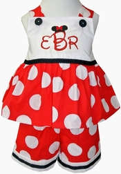 Minnie Mouse Monogrammed Minnie Dots Custom Disney Outfit.