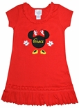 Monogrammed Minnie Mouse Head, Hands and Feet Red Ruffle Dress