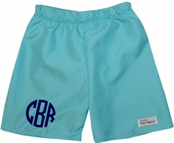 Monogrammed Personalized Boy's Turquoise Swim Trunks