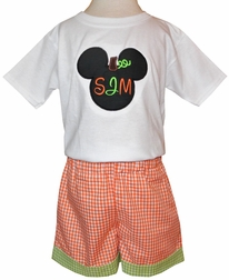 Mickey Mouse Pumpkin Boy's Monogram Halloween, Thanksgiving Outfit