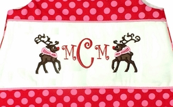 Monogrammed Rudolph the Red Nose Reindeer Girl's Dress or Outfit in Michael Miller's Red with Hot Pink Ta Dots