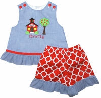 Monogrammable School House, Back to School Shorts, Capris or Pants Set