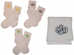 Monogrammed Socks for Girls, Girl's Personalized Socks