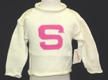 Monogrammed Personalized Children's Sweater Hot Pink.