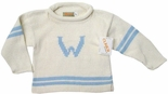 Monogrammed Children's Sweater In White And Light Blue.