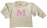 Monogrammed Children's Sweater In White And Soft Pink.