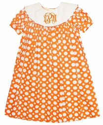 Orange with White Dots Monogrammed Float Dress by Three Sisters