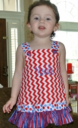 Girl's Patriotic 4th of July Outfit in Red Chevron with Dots Ribbon