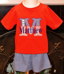 Boy's Patriotic 4th Of July Flag Initial Shorts Set.