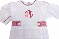 Paty Inc. Baby Boy's White Monogrammable Romper with Gingham Tabs and Red Tatting