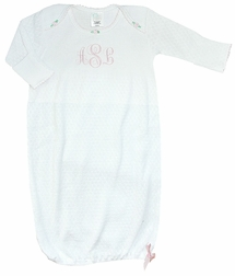 Paty, Inc. Baby Girl's Rosebuds White Monogram Sack Sleeper Gown