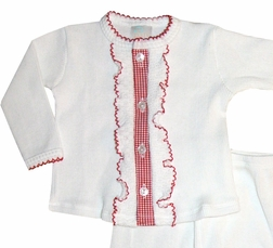 Paty, Inc. Baby Infant Girl's White Knit Two Piece Outfit with Red Gingham and Red Tatting Ruffles