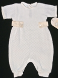 Paty, Inc. Ecru Silk Tab White Romper for Baby Boys