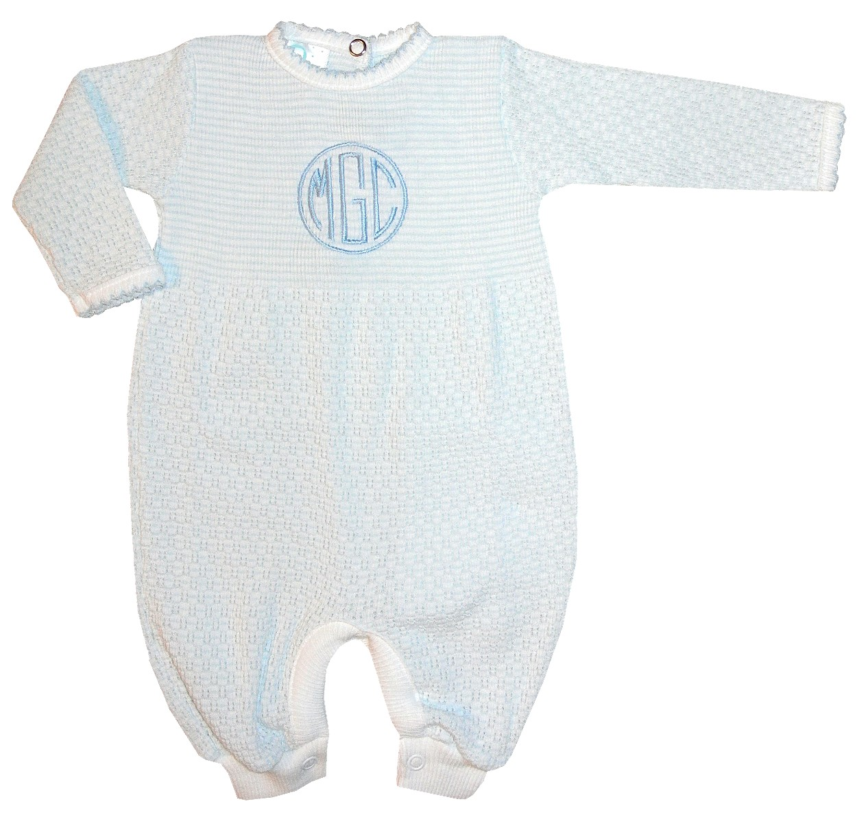 Boy\'s Blue And White Layette Baby Infant Romper By Paty, Inc.