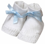Baby Boy Booties in Blue with Blue Satin Ribbon By Paty, Inc.