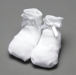 Baby Booties in White with White Satin Ribbon By Paty, Inc.