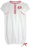 Paty Inc. White Knit Baby Infant Boy Gown with Red Gingham Accents