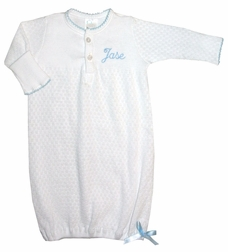 Baby White Layette Gown With Blue Satin Ribbon By Paty, Inc.