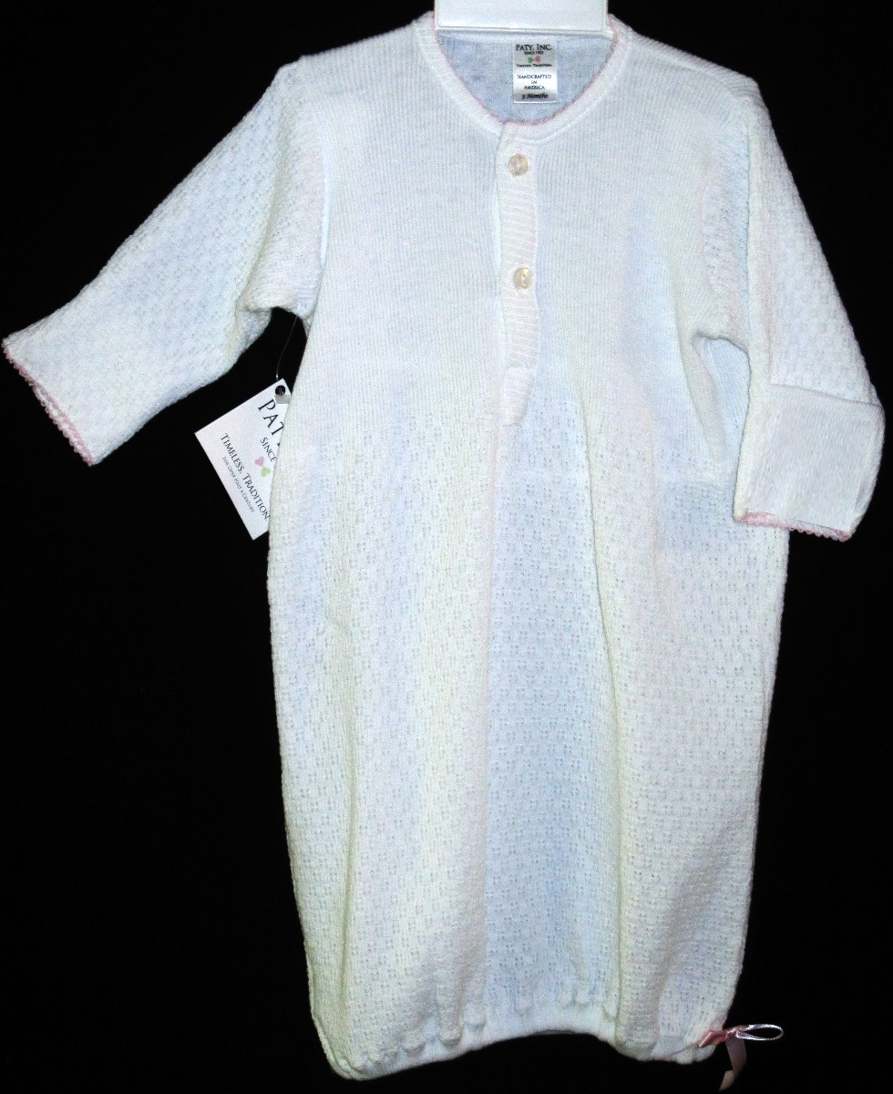 Baby White Layette Gown With Pink Satin Ribbon By Paty, Inc.