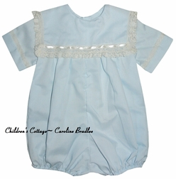 Heirloom Boy's Bubble with Square Lace Collar by Peppermint Pony.