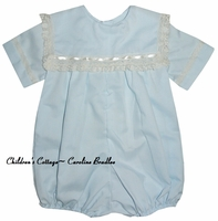 Heirloom Square Collar Bubble, Button on or Blouse over Shorts with Horizontal Lace and Small Satin Ribbon