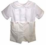 Boy's Heirloom Button On Outfit in White and Ecru/Ivory with Peter Pan Collar