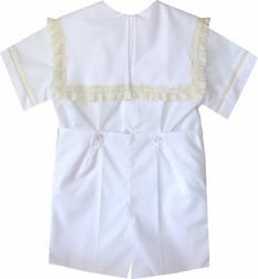 Heirloom Boy's Square Collar Bubble, Button On or Blouse over Shorts with 2 Horizontal Rows of Lace