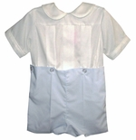 Boy's Heirloom Button On Outfit in White or Ecru/Ivory and Blue with Peter Pan Collar