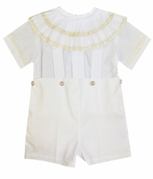 Heirloom Boy's Pleated Collar Bubble, Button On or Blouse over Shorts