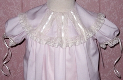 Heirloom Flower Girl, Portrait Dress in Pink with Ribbon Collar