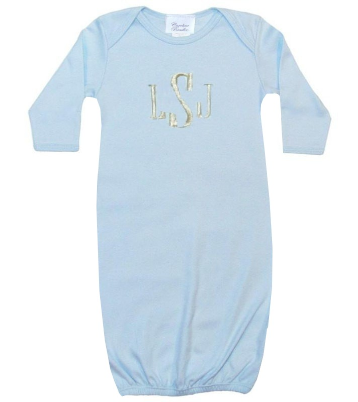 Personalized Baby Boy Gown, Sleeper in Blue Monogrammed in Various ...