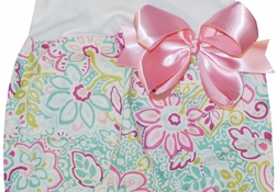 Personalized Baby Gown for Girls in Floral Damask and Paisley with Pink Satin Ribbon