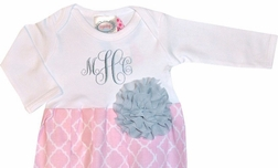 Personalized Baby Girl's Gown in Light Pink Quatrefoil and Gray Cabbage Rose