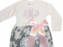 Personalized Baby Gown for Girls in Gray Damask and Pink Satin Ribbon