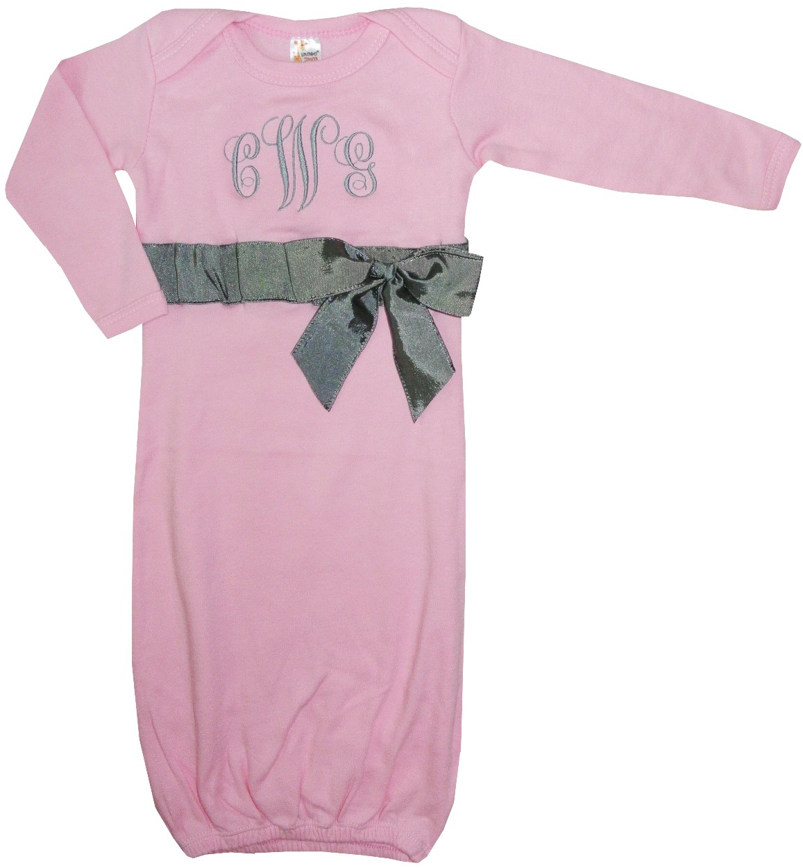 93a37e45b908 Personalized Monogrammed Pink Baby Girls Gown