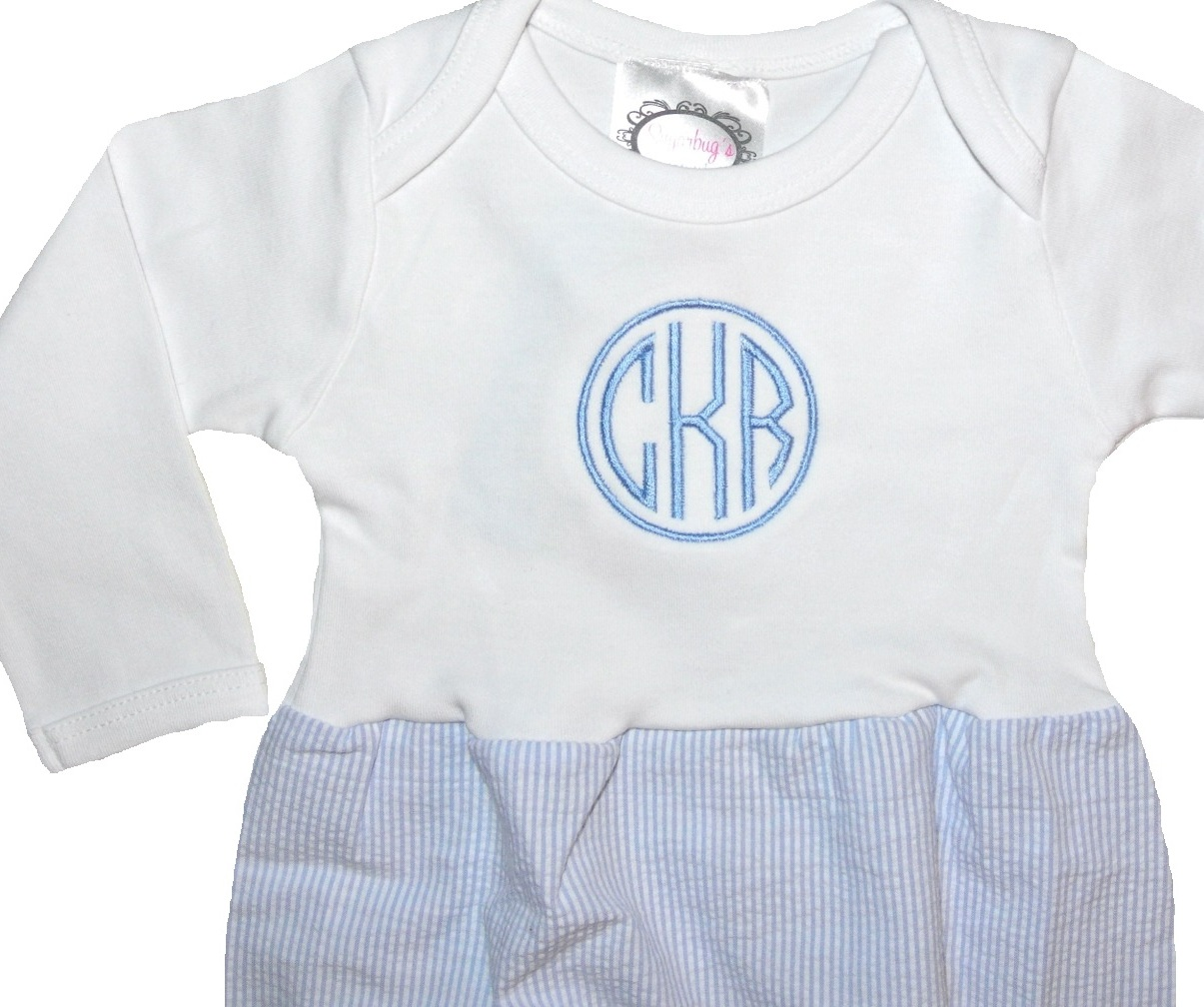 3c3da2a649a51 Personalized Baby Infant Boy's Gown in Blue Seersucker