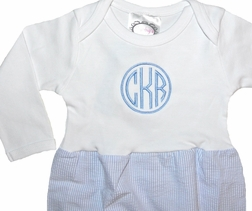 Personalized Baby Infant Boy's Gown in Blue Seersucker