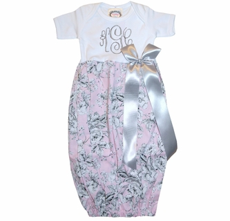 ca38379dd0835 Personalized Baby Infant Girl s LONG SLEEVE Gown in Pink Floral ...