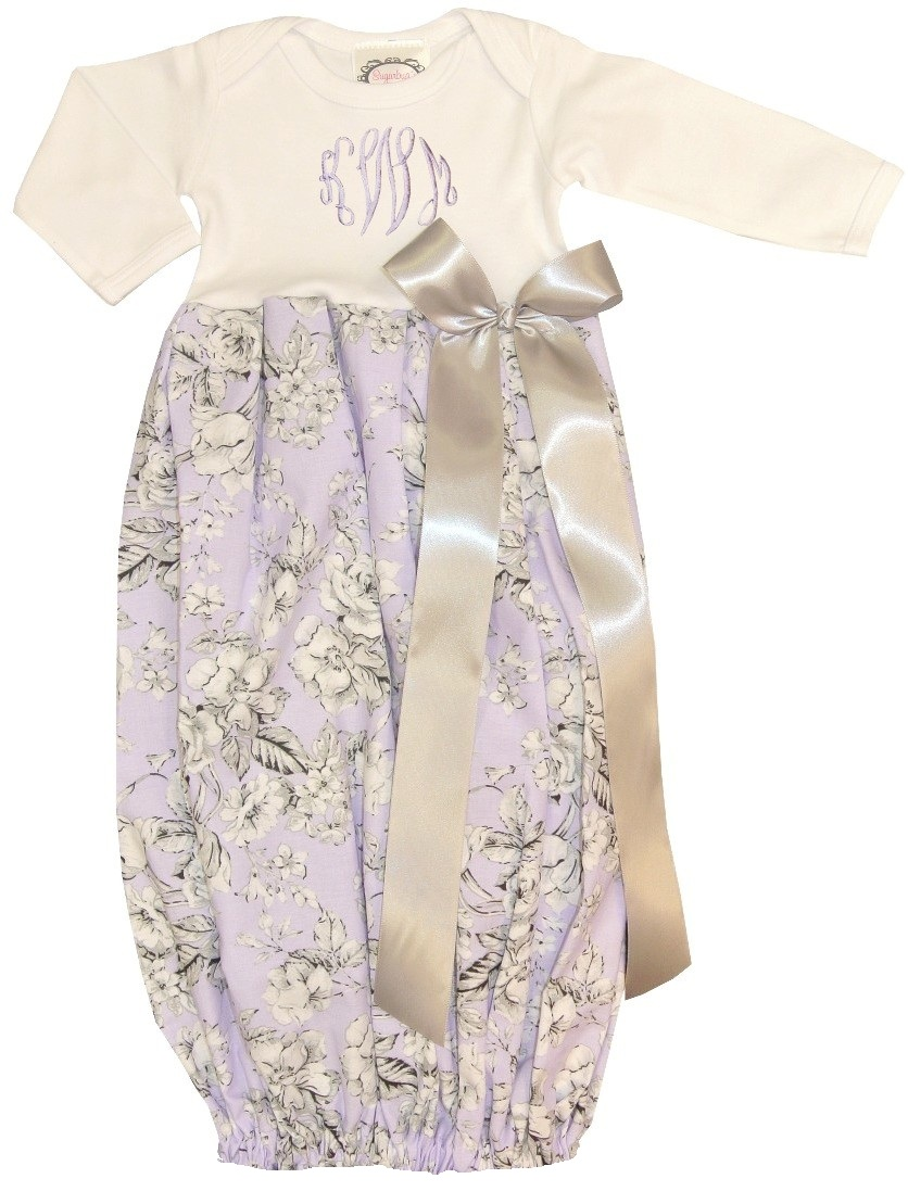 Personalized Baby Infant Girl\'s Lavender and Gray Damask Gown