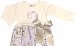 Personalized Baby Infant Girl's Lavender and Gray Damask Gown