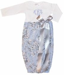 Personalized Baby Infant Girl's Light Blue and Gray Damask Gown