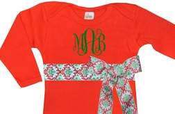 Personalized Baby Infant Girl's Red Gown with Christmas Damask Ribbon