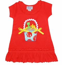 Personalized Beach Pail, Sand Pail Dress for Baby, Toddler and Little Girls in Red and Turquoise with Ric Rac and Ribbon