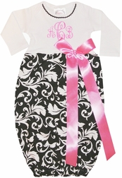 Personalized Baby Gown for Girls in Black Damask and Hot Pink Satin Ribbon